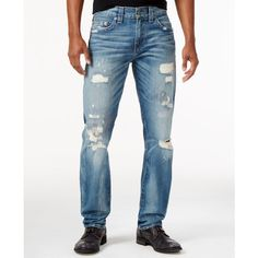 True Religion Men's Slim-Fit Jeans ($173) ❤ liked on Polyvore featuring men's fashion, men's clothing, men's jeans, dark rebel, mens faded jeans, mens slim fit jeans, mens dark denim jeans, mens jeans and mens slim jeans
