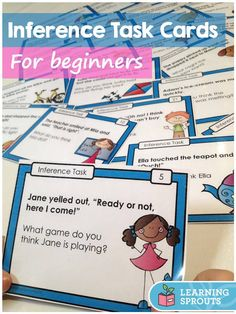 These inference task cards are perfect for beginners! Each task card includes one or two simple sentences, a picture that matches the text and one inference question.