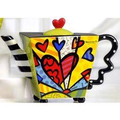 Romero Britto Teapot Square Heart Ceramic Dolomite Tea Pot Infuser Cup Decor New - (amazon)