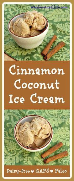 Cinnamon Coconut Ice Cream: Dairy-free, GAPS, Paleo (Omit honey for vegan substitute. Paleo Ice Cream, Dairy Free Ice Cream, Coconut Ice Cream, Homemade Ice Cream, Ice Cream Recipes, Recipes With Coconut Cream, Frozen Desserts, Vegan Desserts, Dessert Recipes