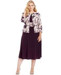 4f664d49b3a Jessica Howard Plus Size Empire-Waist Dress   Printed Jacket   Reviews -  Dresses - Women - Macy s