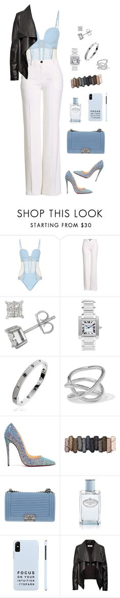 """Baby Blue"" by lalalace-1 ❤ liked on Polyvore featuring La Perla, Roberto Cavalli, Cartier, Jennifer Fisher, Christian Louboutin, Urban Decay, Chanel, Prada and HIDE"