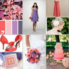 coral and purple wedding colors