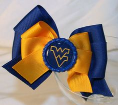 West Virginia Mountaineers Hair Bow  Blue and Gold by MagnoliaWay, $7.00