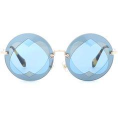 Miu Miu Round Sunglasses ($300) ❤ liked on Polyvore featuring accessories, eyewear, sunglasses, blue, miu miu glasses, round sunglasses, blue round sunglasses, miu miu and blue glasses