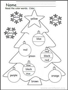 Students practice reading 9 color words as they color this fun holiday printable. Writing Worksheets, Kindergarten Worksheets, Coloring Worksheets, Printable Worksheets, English Activities, Preschool Activities, Preschool Bulletin, Preschool Christmas, Christmas Crafts