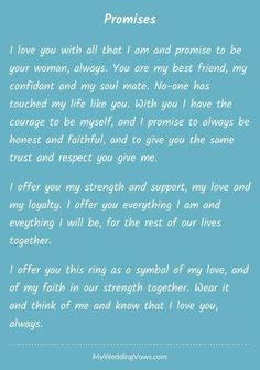 Best wedding vows to husband i promise marriage Ideas Wedding Vows That Make You Cry, Best Wedding Vows, Wedding Vows To Husband, Wedding Ceremony, Love Poems Wedding, Wedding Script, Dream Wedding, Wedding Readings, Wedding Signs