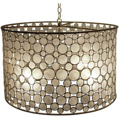 Serena Oly Natural Brass Capiz Drum Chandelier (€3.035) ❤ liked on Polyvore featuring home, lighting and ceiling lights