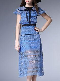 Blue Contrast Self-tie Ruffle Hollow Lace Dress