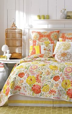 Yellow and orange floral quilt