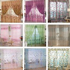 Room Floral Tulle Voile Door Window Curtain Drape Panel Balcony Valance Divider | Home & Garden, Window Treatments & Hardware, Curtains, Drapes & Valances | eBay!