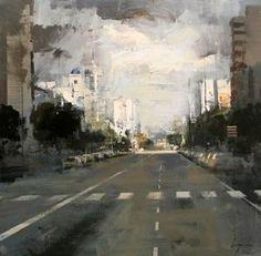 La avenida - Óleo sobre lienzo (54 x 54 cm.) Street Painting, City Painting, City Landscape, Urban Landscape, Cool Paintings, Landscape Paintings, Industrial Paintings, Watercolor City, Urban Painting