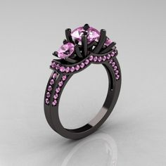 French 14K Black Gold Three Stone Light Pink Sapphire Wedding Ring Engagement Ring R182-14KBGLPS