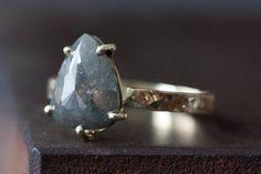 Image of Custom Natural Rose Cut Black Diamond Engagement Ring