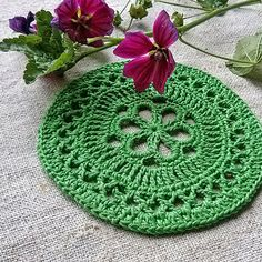 Crochet lace Green coasters Round shape doily Handmade by MyWealth
