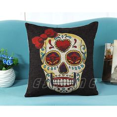 Cushion Cover Skull Vintage Retro Cotton Linen Throw Pillow Case Sofa Bed Home