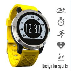 Moonfully Touch Screen Smart Watch Waterproof Wristwatch Fitness Tracker Sleep & Heart Rate Monitor (Yellow). Support System: Nucleus/Support the above IOS8 and the above Android4.3. Function: Heart rate Monitor, Swimming tracker, Pedometer, Sedentary remind, Sleep monitoring, Clock/date display,. Dual mode heart rate:healthy heart rate and heart rate mode, can be set up to remind the target heart rate,(Heart rate numerical alarm is a unique feature). Premium stainless steel shell, Silica...