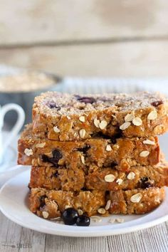 Blueberry Oatmeal Bread - Whole grain oatmeal quick bread filled with fresh blueberries. A wholesome breakfast, snack, or dessert. Hello, and Happy New Year! I hope your 2017 is off to a fabulous start. Blueberry Oatmeal Bread, Blueberry Breakfast, Sweet Breakfast, Morning Breakfast, Banana Bread, Lemon And Coconut Cake, Coconut Cream, Muffins, Breakfast Bread Recipes