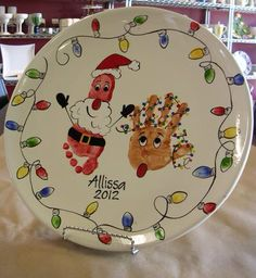 DIY hand and foot print santa treat plate