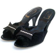 Vintage 50s Black Suede Leather Springolator Open Toe Satin Rhinestone Bows