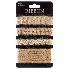 """Add a country chic touch to your project with this Mixed Jute Ribbon! This ribbon comes in four styles of jute, from rick rack to pearl-center accents. Place a lovely addition in your scrapbook, gift package or bag, home decor items, and much more with this chic ribbon.    Ribbon Details:      Ribbon Width: 1/4"""" - 5/8""""    Ribbon Type: Jute    Spool Length: 12 Feet (3 Feet each color)"""