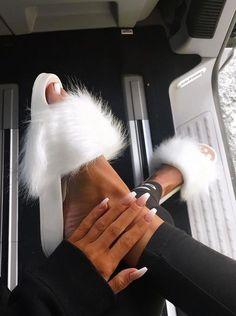 Fluffy slippers...
