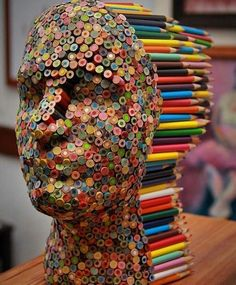 Colour Blind by Molly Gambardella. Coloured pencils and glue.