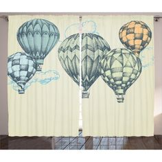Custom Microfiber Ultra Soft Bath/hand Towel,Vintage Decor Hot Air Balloons in Soft Tone Fly in Sky Lighter Than Air High Touris Rod Pocket Curtains, Grommet Curtains, Panel Curtains, Curtain Panels, Air Balloon, Balloons, Living Room Drapes, Kids Wall Murals, Window Drapes
