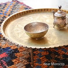 Vintage Moroccan Brass Tray / Small tea table with by dearMorocco