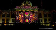 """Magic Lantern"" light show in downtown Redwood City screens Tuesdays evenings at dusk, then again in darkness. Photo: Bart Kresa Designs"