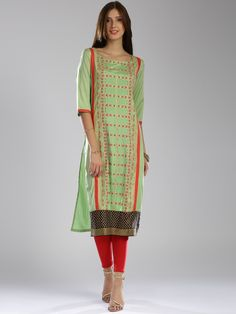Buy W Women Green Printed Straight Kurta -  - Apparel for Women from W at Rs. 1699