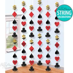 CASINO LAS VEGAS CARDS NIGHT POKER PARTY SUPPLIES HANGING STRING DECORATIONS