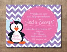 Winter Penguin Birthday Invitation shower by BirdieSaysCawCaw, $12.00