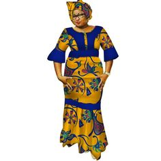 Image of New Dashiki Women Long Dresses with Headscarf Bazin Riche African Patchwork Dresses for Women African Style Clothing 1 Latest African Fashion Dresses, African Dresses For Women, African Print Fashion, African Attire, African Style Clothing, African Traditional Dresses, Traditional Outfits, Patchwork Dress, Long Dresses