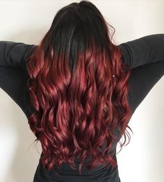This eye-catching black and red ombre shade created by junior hair stylist Josie Stutters (@curly.jos) will add versatility to your hair this fall season. Don't miss out these dark ombre hair color ideas by clicking this link. #darkombrehair #darkombrehaircolorforbrunettes Dark Ombre Hair, Brown To Blonde Ombre, Hair Color For Black Hair, Red Ombre Hair Color, Dark Hair, Hair Colour, Really Curly Hair, Black Curly Hair, Cute Hair Colors