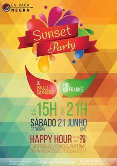 """Cartaz para festa de Verão no restaurante """"La Vaca Negra""""  //// designed by Sofia Rodrigues //// #summer #party #sunset #lavacanegra #sofia #rodrigues #rood #designer #art #fresh #happy"""