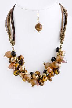 DivaByDzine - Mixed Stone Cluster Necklace Set, $20.00 (http://www.divabydzine.com/mixed-stone-cluster-necklace-set/)