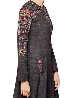 Indian Fashion Designers - Anita Dongre - Contemporary Indian Designer - The Charcoal Coloured Snehala Suit - Kurti Neck Designs, Kurta Designs Women, Kurti Designs Party Wear, Blouse Designs, Hand Embroidery Dress, Kurti Embroidery Design, Embroidery Suits, Kurta Patterns, Indian Designer Suits