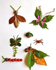 Basteln Sie mit den Kindern Insekten aus Laub und frischen Blättern