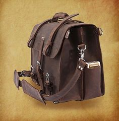 Image of Large Mens Leather Backpack Messenger Bag Cowhide Briefcase Big Laptop Bag Tote--FREE SHIPPING