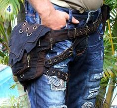 The Wizard Hip Belt You can order this belt to wear right or left side ! ~ for men and women ~ free size: 30 - 48 inch ~ belt length can be customized to more long. ~ with 2 belt buckle closure - this makes the adjustment so EASY ~ belt with eyelids application ~ 4 zipper pockets