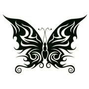 black tribal butterfly tattoo