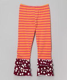 Look at this #zulilyfind! Pink & Orange Stripe Ruffle Leggings - Toddler & Girls by Mis-Tee-V-Us #zulilyfinds