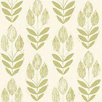 Fine Decor Blockprint Tulip Wallpaper - Green