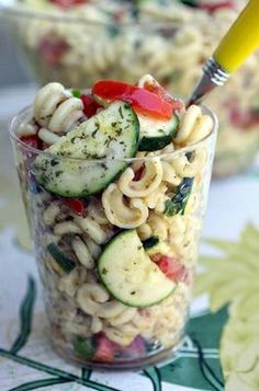 Summer Pasta Salad--Love the idea of serving antipasto in individual clear plastic cups.