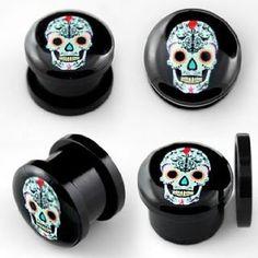 Voodoo Piercings- Body Jewellery-Flesh-Plug-Sugar-Skull-5mm