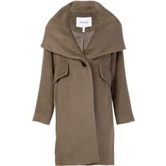 Derek Lam 10 Crosby hooded shawl collar coat ($655) ❤ liked on Polyvore featuring outerwear, coats, brown, 10 crosby derek lam, hooded coat, shawl collar coats, brown coat and hooded shawl collar coat
