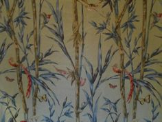 SCALAMANDRE Fabric Large Remnant  Birds of a by englishfabric
