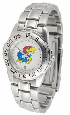 Kansas Jayhawks Suntime Ladies Sports Watch w/ Steel Band - NCAA College Athletics by Sun Time/Links Warner. $49.95. The Ladies Sport Steel watch by Suntime features your favorite team logo in a European styled stainless steel case with a stainless steel strap and security buckle.
