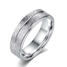 Double Frosted Wedding Band. Starting at $1  #HappyDance #Rings